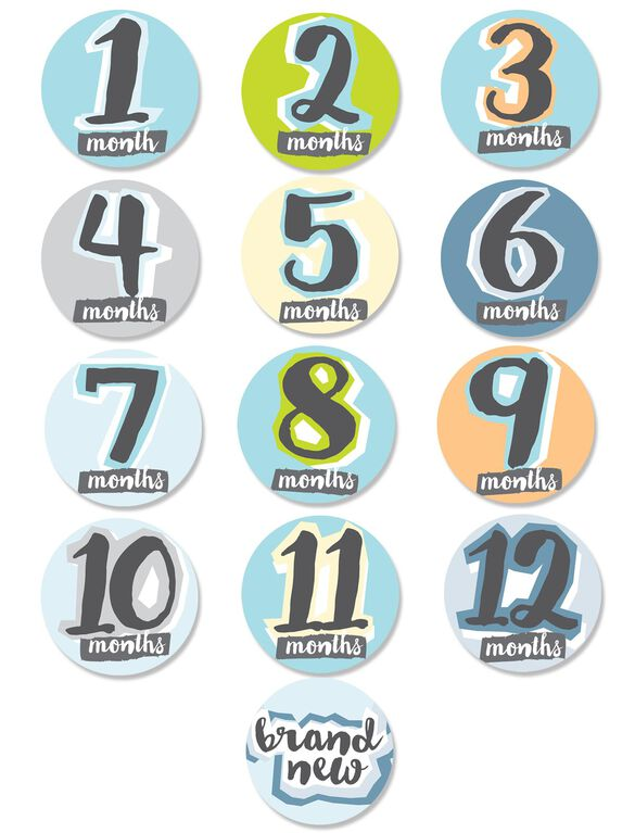 Sticky Bellies Hello, Baby Boy Monthly Stickers, Baby Boy