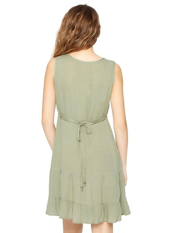 Tiered Maternity Dress, Olive
