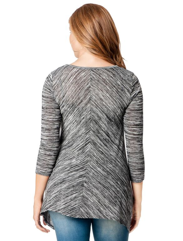 Asymmetrical Hem Hacci Maternity Top- Grey, Grey