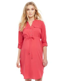 Tie Detail Maternity Shirt Dress, Pink Rouge