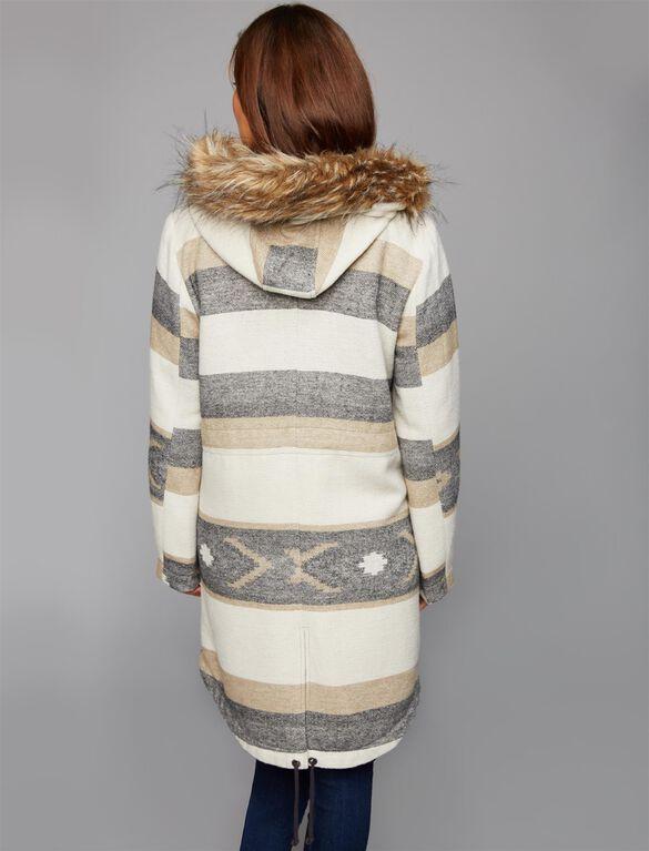 BB Dakota Faux Fur Trim Maternity Jacket, Oatmeal