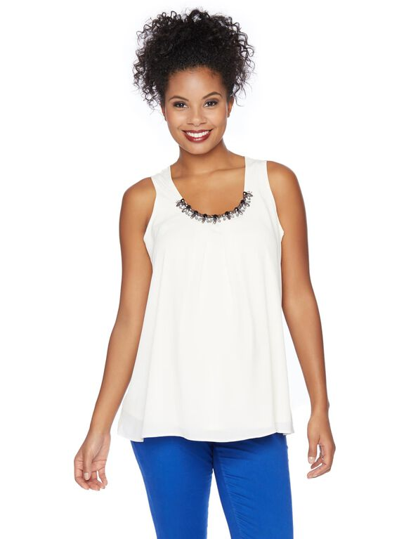 Embroidery Maternity Top, White
