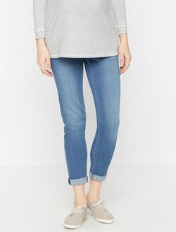 Luxe Essentials Denim Secret Fit Belly Cuffed Maternity Jeans, Indigo Denim