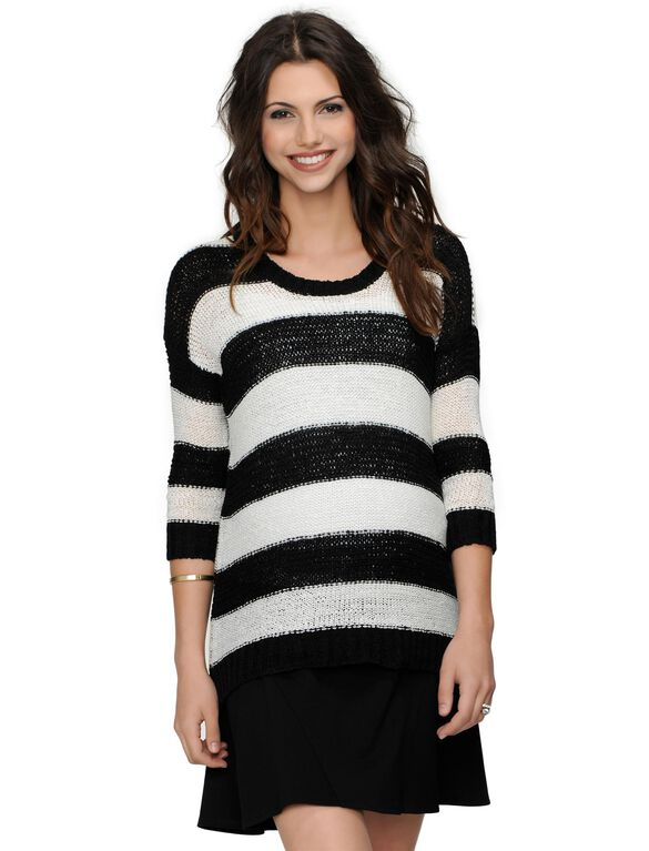Design History Drop Shoulder Striped Maternity Sweater, Pearl/Black