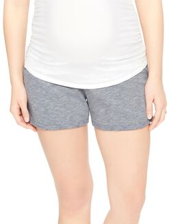 Under Belly French Terry Maternity Shorts- Solid, Grey