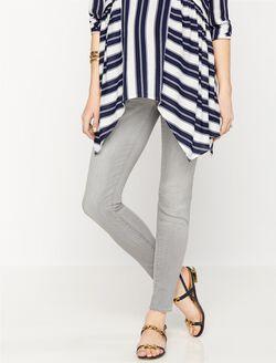 Luxe Essentials Denim Skinny Leg Maternity Jeans, Light Grey