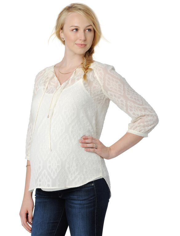 Daniel Rainn Smocked Maternity Blouse, Antique Ivory