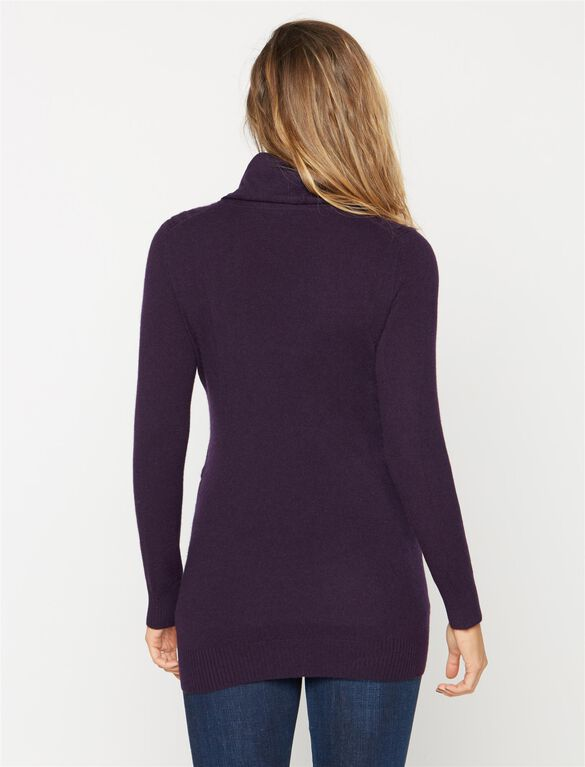 Quinn Cable Cotton Cashmere Turtleneck Maternity Sweater, Purple