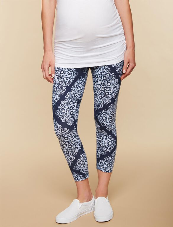 Secret Fit Belly Printed Maternity Crop Leggings- Blue Bandanna, Blue Bandanna Print