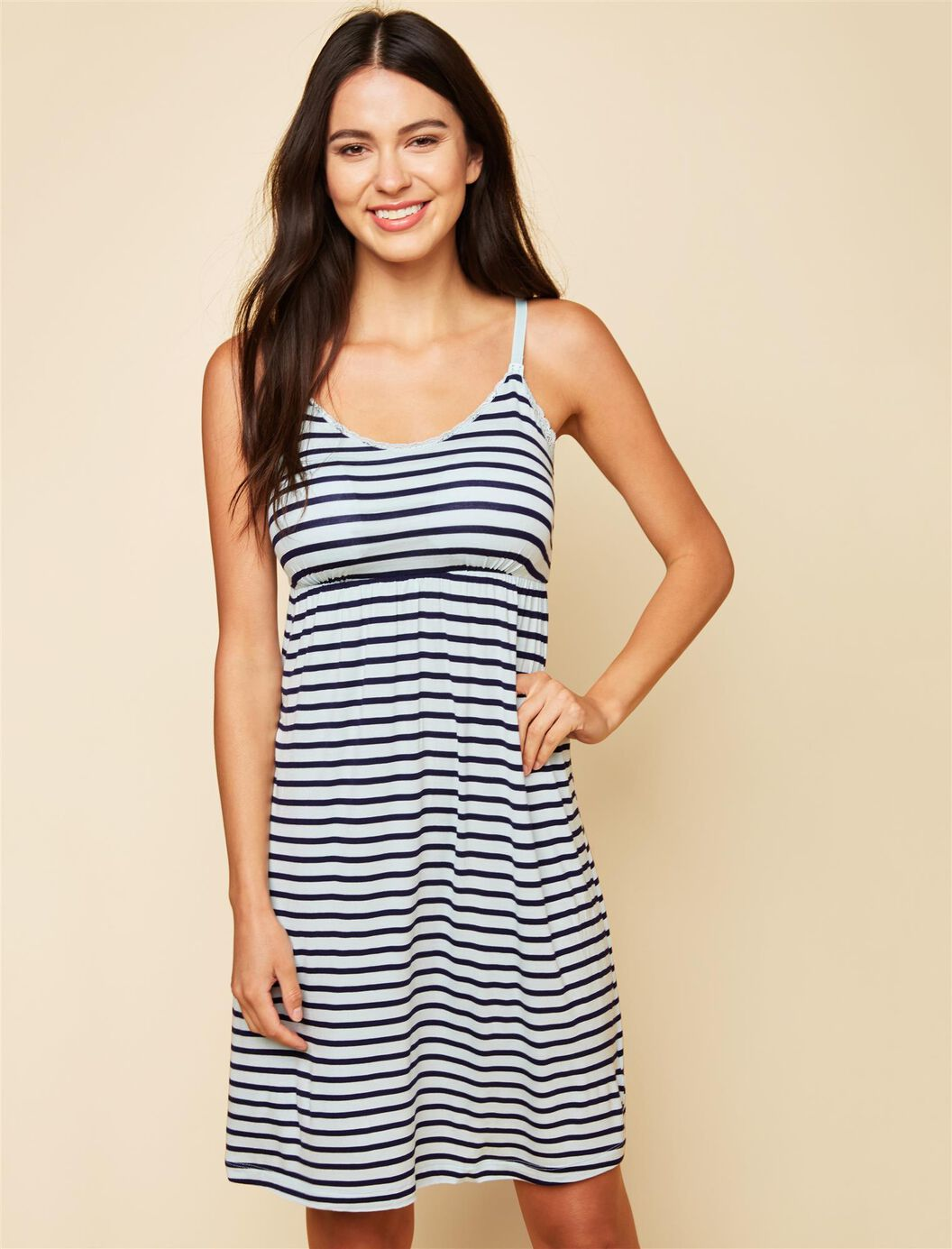 Bump in the Night Nursing Nightgown- Aqua/Navy Stripe at Motherhood Maternity in Victor, NY | Tuggl