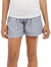 Secret Fit Belly Railroad Stripe Maternity Shorts, Railroad Stripe