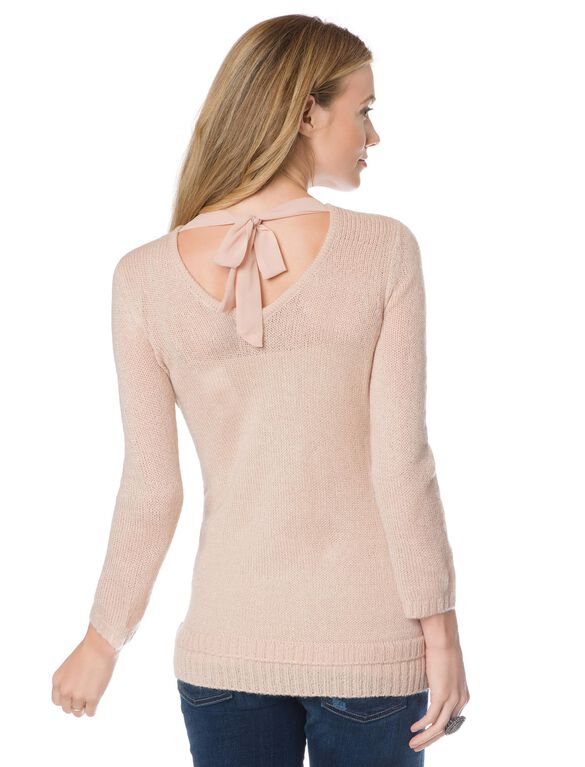 Design History Embellished Maternity Sweater, Blush Pink