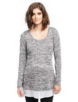 Woven Hem Maternity Tunic- Spacedye, Charcoal/Silver