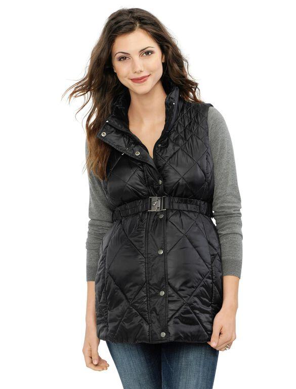 Belted Puffer Maternity Vest, Black