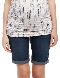 Secret Fit Belly Cuffed Maternity Bermuda Shorts, Soggy Wetland Dark Wash