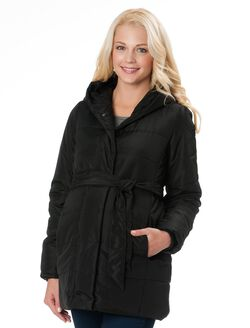 Quilted Micro Fiber Maternity Puffer Coat With Hood, Black