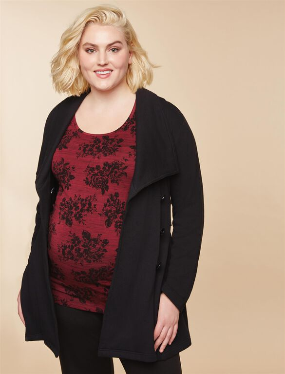 Plus Size Removable Waist Tie French Terry Maternity Coat, Black