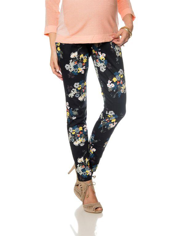 Secret Fit Belly Sateen Slim Leg Maternity Pants, Multi Floral