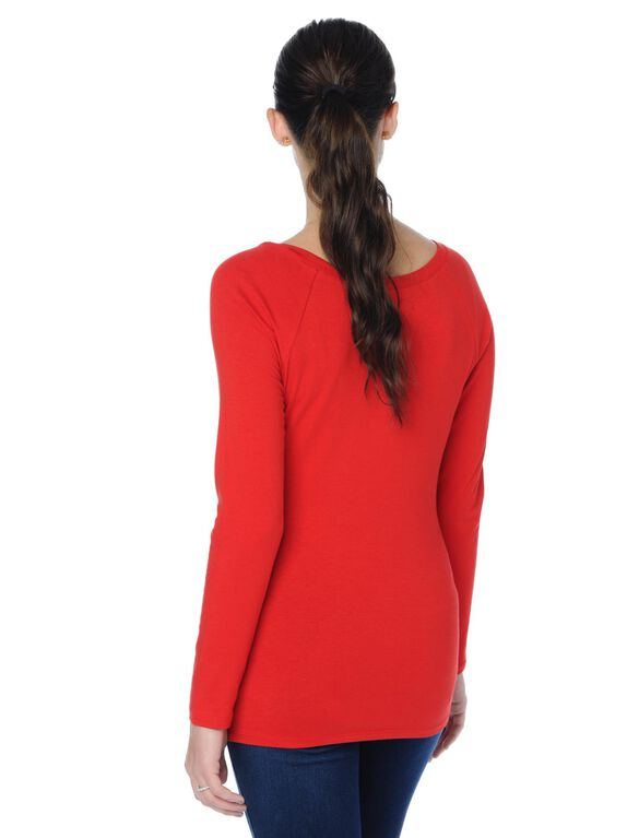 Ballet Neck Maternity Top, Red