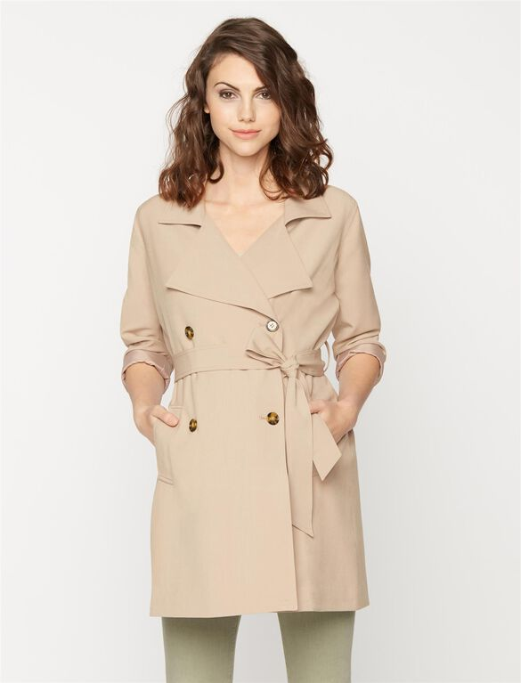 Fashionista Maternity Trench Coat, Khaki