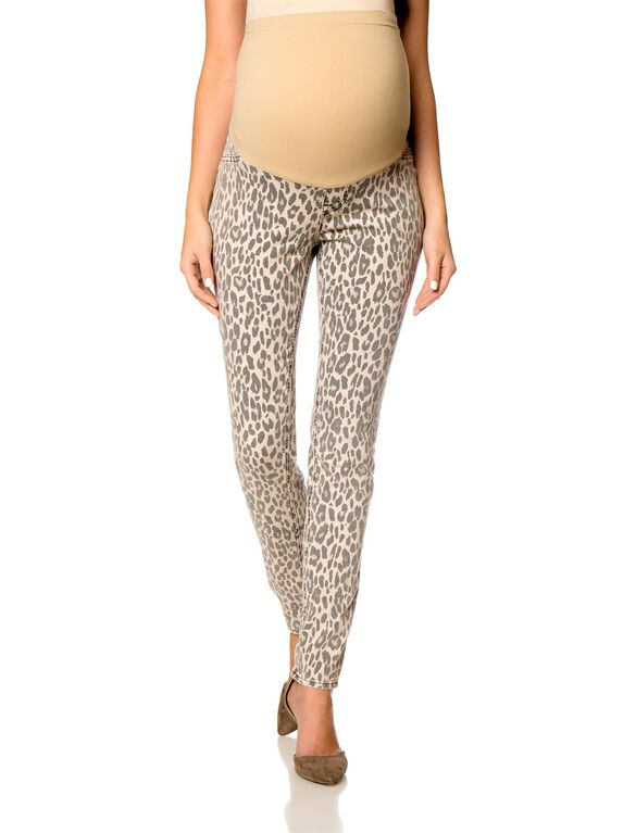 A Pea in the Pod Cotton Maternity Jeans, Leopard Print