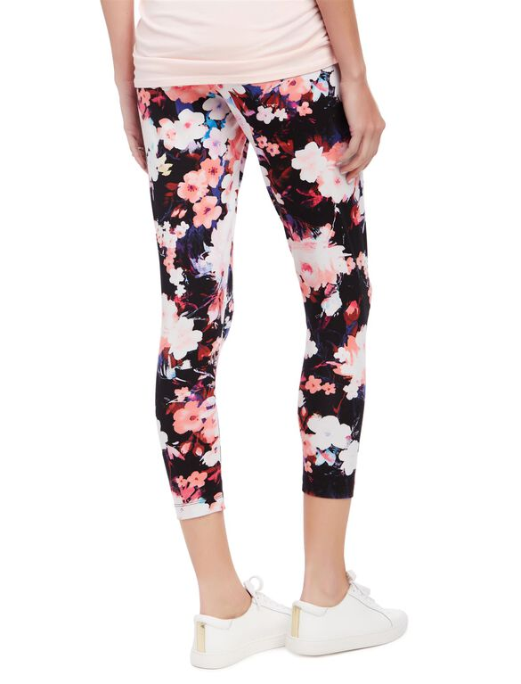 Secret Fit Belly Printed Maternity Crop Leggings- Blurred Floral, Blurred Floral