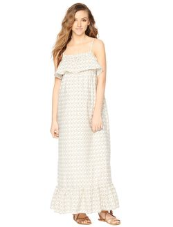 Ruffle Maternity Maxi Dress- Print, Neutral Print