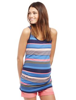 Side Ruched Scoop Neck Maternity Tank Top- Stripe, Blue Stripe