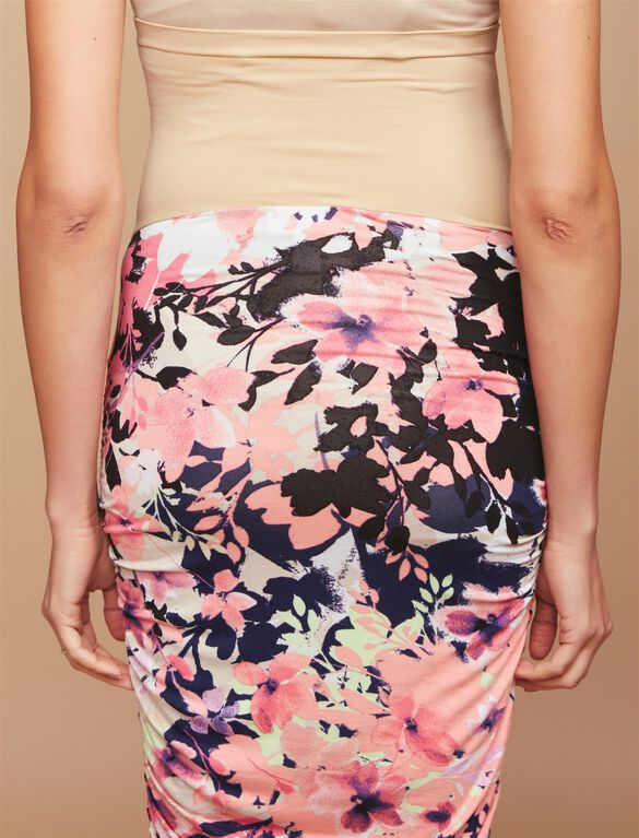 Secret Fit Belly A-line Maternity Skirt, Neon Floral Print