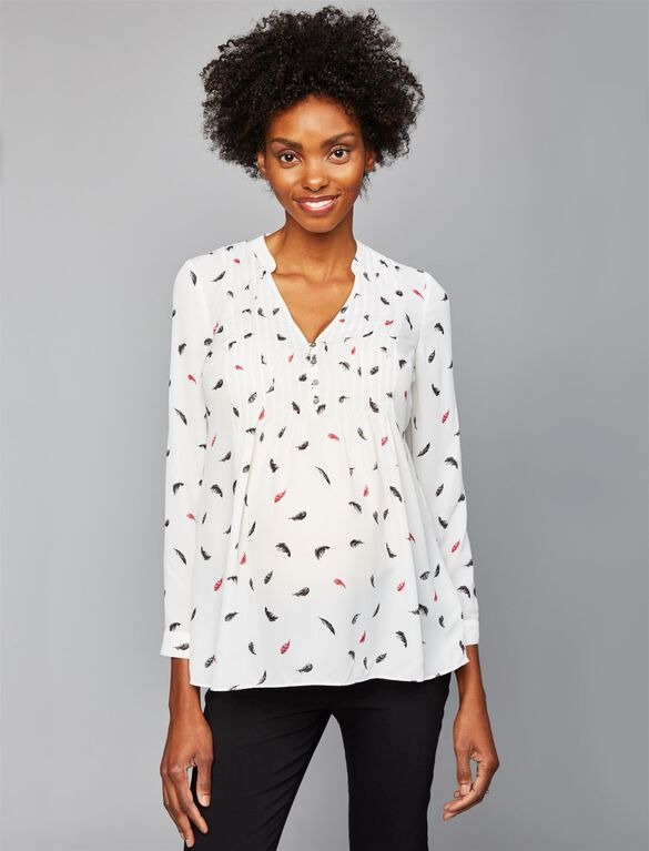 Convertible Sleeve Maternity Blouse, Multi Feather Print