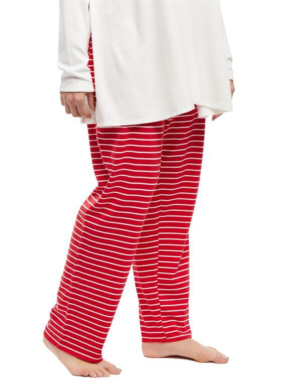 Plus Size Maternity Sleep Pants, Red/White Stripe