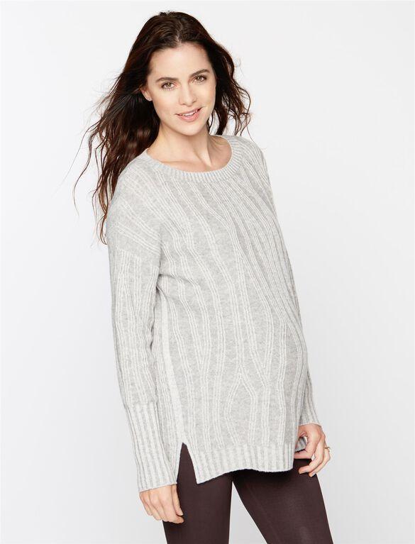 Vince Maternity Wool Rib Knit Sweater, Steel/Cloud