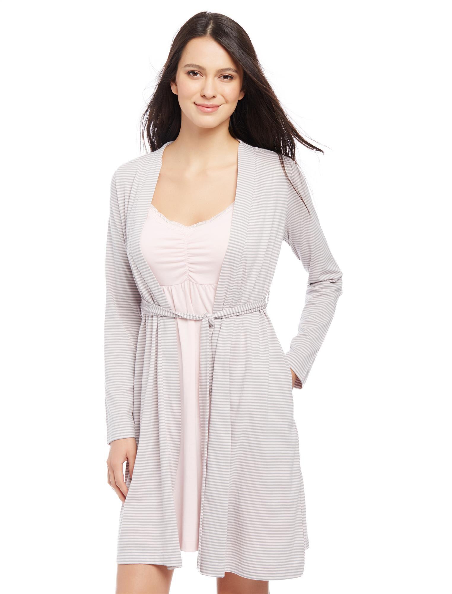 Bump In The Night Nursing Nightgown And Robe- Pink Stripe