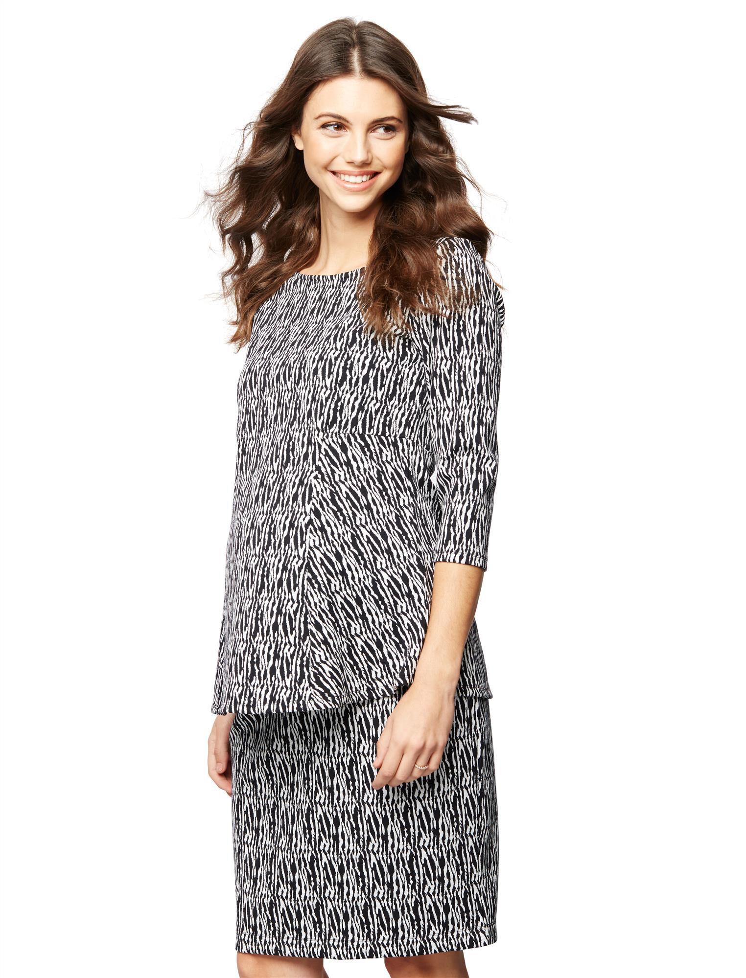 Jacquard Peplum Maternity Shirt