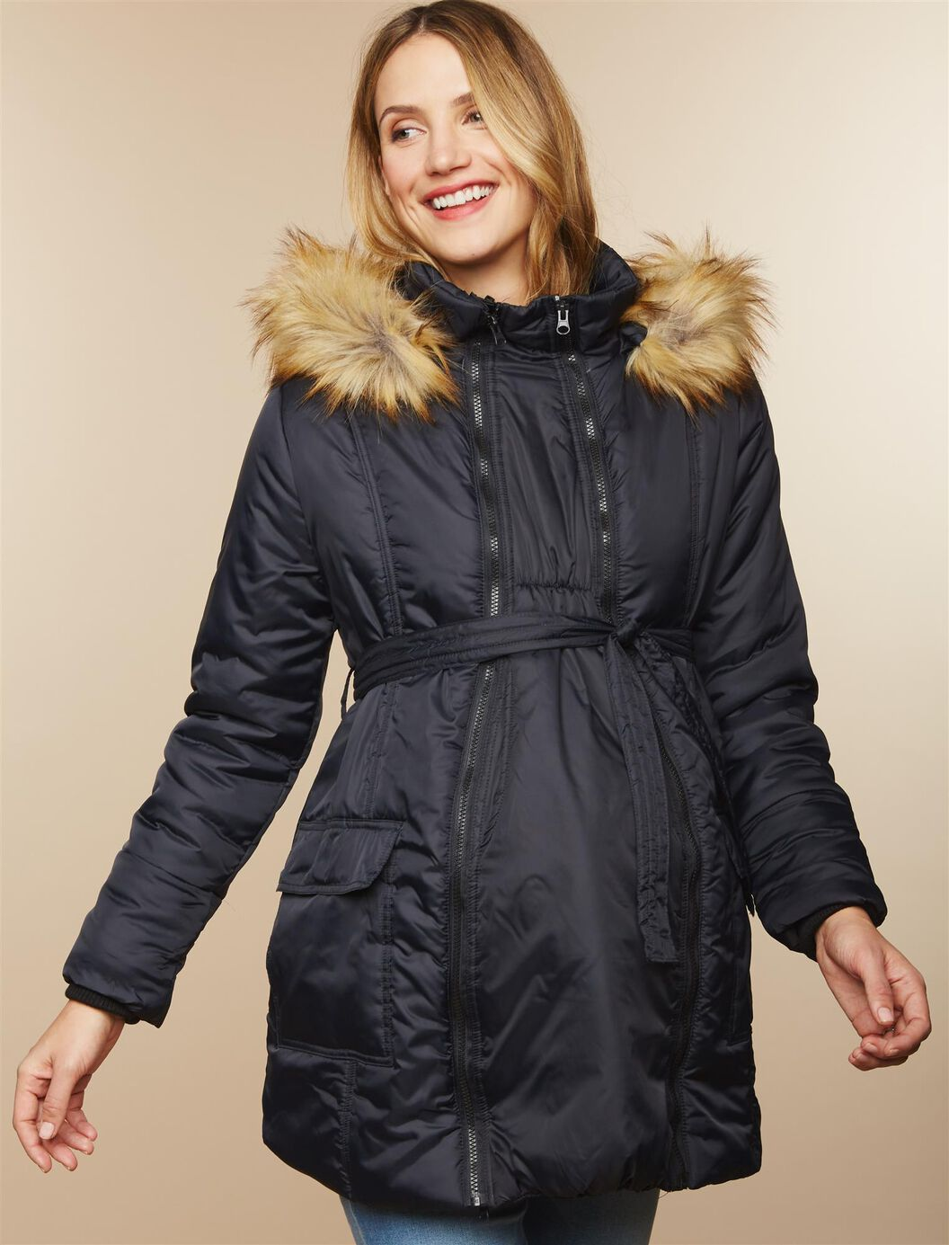 Belted Maternity Puffer Coat