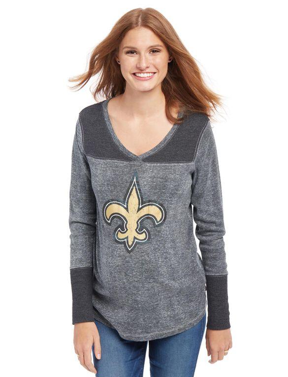 New Orleans Saints NFL Long Sleeve Maternity Graphic Tee, Saints Gold