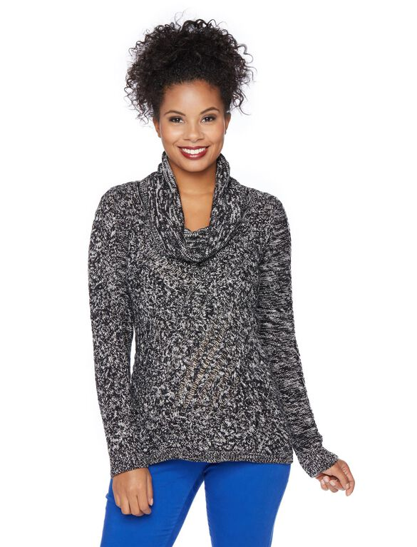 Cable Knit Maternity Sweater, Black Marl