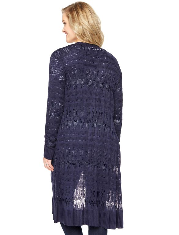 Long Knit Maternity Duster, Navy