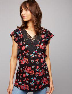 Daniel Rainn Flutter Sleeve Maternity Top- Floral, Floral Print