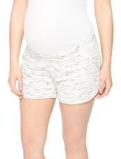 Under Belly Spacedye Maternity Shorts, White Space Dye