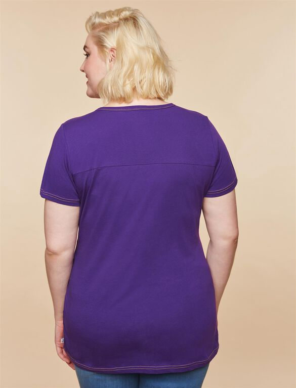 Plus Size Ruched Maternity T Shirt, Purple Vikings
