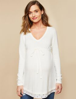 Knit Woven Maternity Sweater Tunic, Off White