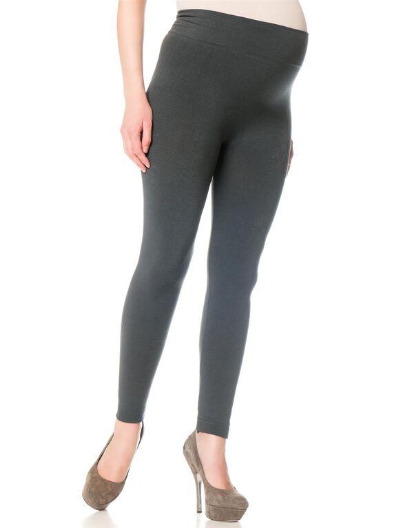 Seamless Fleece Maternity Leggings- Black, Grey