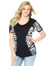 Wendy Bellissimo Tie Dye Maternity Tee, Black/White