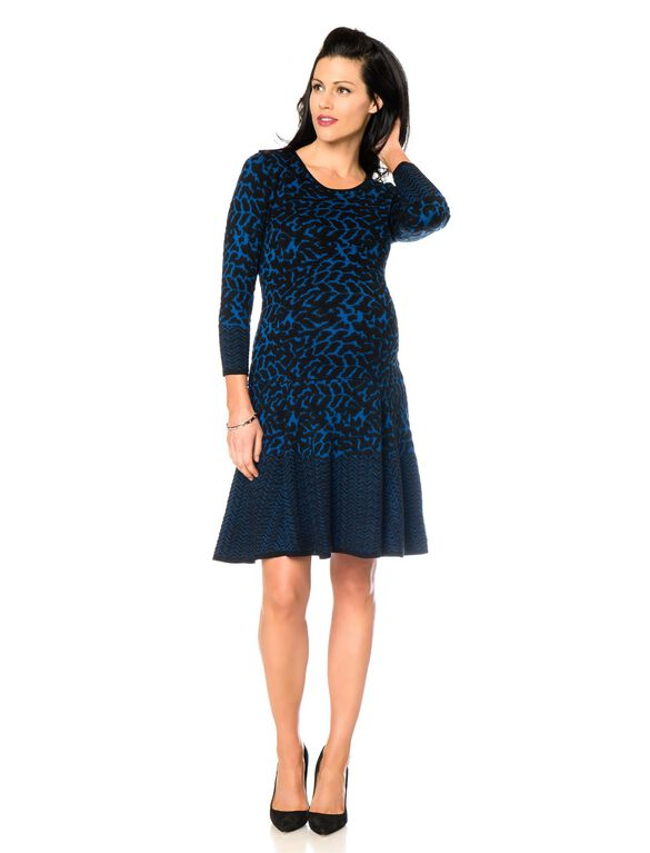 Dropwaist Maternity Sweater Dress, Royal Black