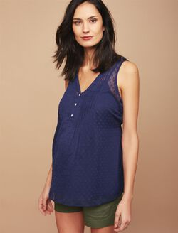 Pleated Clip Dot Maternity Blouse, Navy