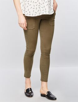 Luxe Essentials Denim Addison Maternity Skinny Jeans, Green Pine