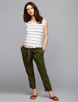 Under Belly Skinny Leg Maternity Crop Pants, Olive