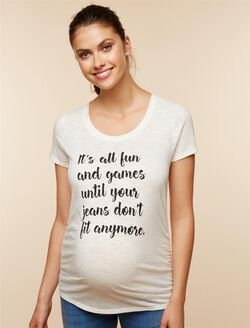 Fun and Games Maternity Tee, White