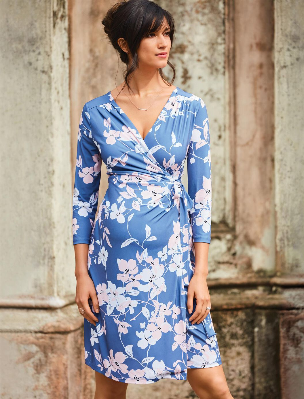 Pleated floral maternity wrap dress a pea in the pod maternity pleated floral maternity wrap dress blue floral print ombrellifo Choice Image